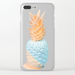 Blue and Orange Pineapple Clear iPhone Case