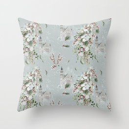 Castles and White Roses Throw Pillow