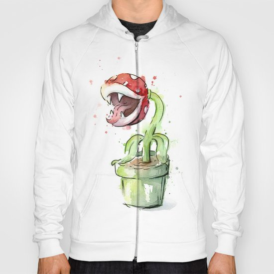 Piranha Plant Watercolor Geek Gaming Mario Art Hoody