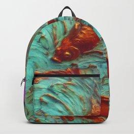 DIMENSIONAL PURPLE IRIS FLOWERS & GOLDEN KOI FISH Backpack