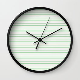 Pastel Melon Green Horizontal Lines 3 on Linen White Pairs to 2020 Color of the Year Neo Mint Wall Clock