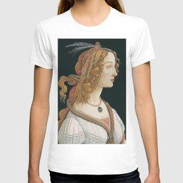 """Sandro Botticelli """"Idealized Portrait of a Lady (Portrait of Simonetta Vespucci as Nymph)"""" T-shirt"""