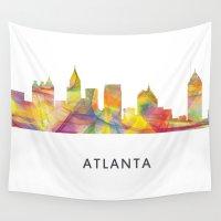 atlanta Wall Tapestries featuring Atlanta, Georgia Skyline WB1 by Marlene Watson
