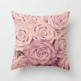 Some People Grumble - Pink Rose Pattern - Roses Throw Pillow