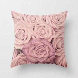 Some People Grumble - Pink Rose Pattern - Roses Garden Throw Pillow