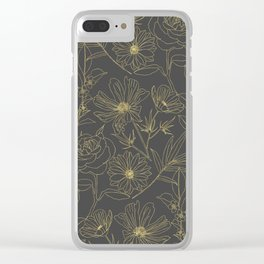 Simple garden flowers gold outlines design Clear iPhone Case