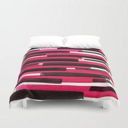 Magenta Primitive Stripes Mid Century Modern Minimalist Watercolor Gouache Painting Colorful Str Duvet Cover