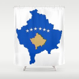 Kosovo map with Flag of Kosovo Shower Curtain