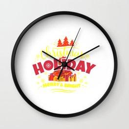 Christmas Holiday Merry & Bright yr Wall Clock