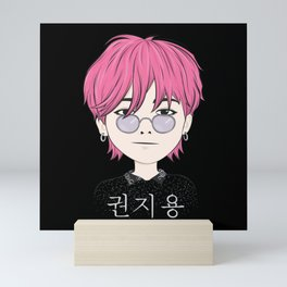 G-Dragon Cartoon Black Mini Art Print