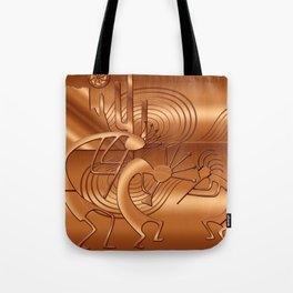 Magical Kokopelli in Burnt Orange Tote Bag