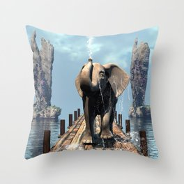 Elephant on a jetty Throw Pillow
