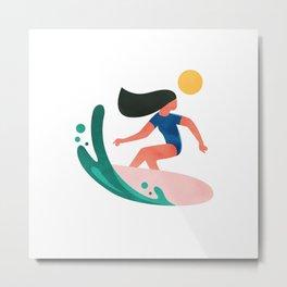 Surfing Girl Metal Print