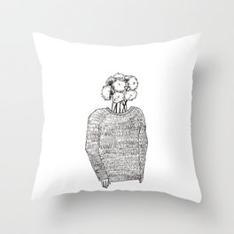 Flowers on the head Throw Pillow