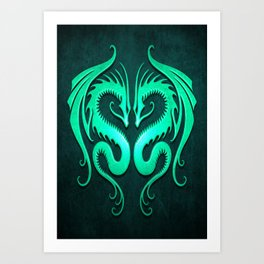 Teal Blue Twin Tribal Dragons Art Print