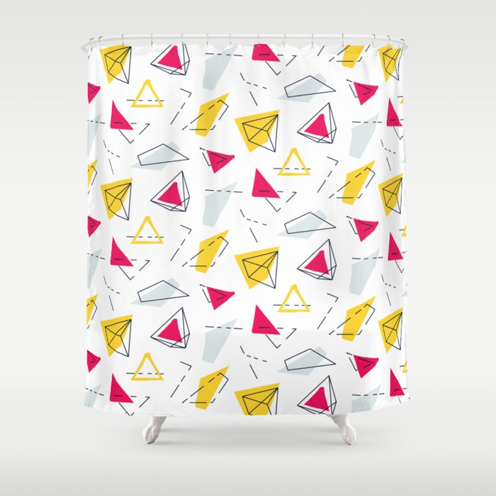 Red yellow geometric Shower Curtain