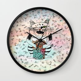 Emotional Cat. Playful. Wall Clock