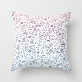 Cute & Sweet Monsters / Funny Clouds and Diamonds Throw Pillow