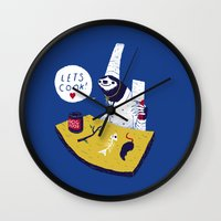 cooking Wall Clocks featuring cooking with monsieur sloth by Louis Roskosch