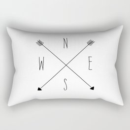 Compass - North South East West - White Rectangular Pillow