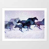 running Art Prints featuring Running by LucyHudec