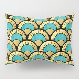 Duck Egg Green Art Deco Fan Pattern Pillow Sham