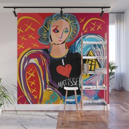 "Portrait of a girl with a shirt ""I Love Matisse"" Wall Mural"