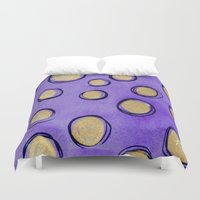 gold dots Duvet Covers featuring Dots (Purple & Gold) by HollyJonesEcu