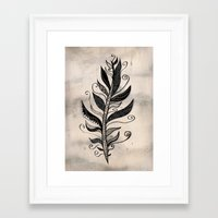 feather Framed Art Prints featuring FEATHER by Nika
