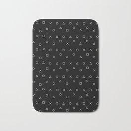 black gaming pattern - gamer design - playstation controller symbols Bath Mat