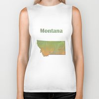 montana Biker Tanks featuring Montana Map by Roger Wedegis