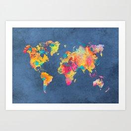 world map blue 2061 #map #worldmap Kunstdrucke