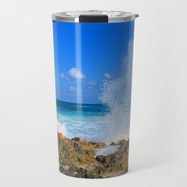 Cozumel teal water ocean crash wave water spout Travel Mug