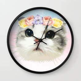 Flowery Cat Wall Clock