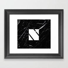 Black Marble - Alphabet N Framed Art Print
