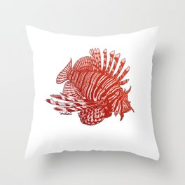 Red Lionfish - Beauty Is The Beast Throw Pillow