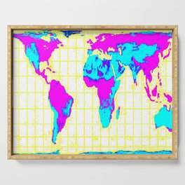 World Map: Gall Peters Colorful Serving Tray