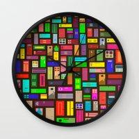 doors Wall Clocks featuring Doors - Black by Finlay McNevin