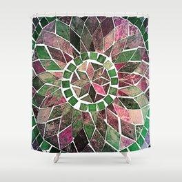 Pink & Green Stone Flower Shower Curtain