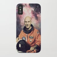 picard iPhone & iPod Cases featuring Captain Picard - Astronaut in Space by Nicholas Redfunkovich