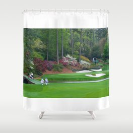 Golf's Amen Corner Augusta Georgia - Golfers on Bridge Shower Curtain