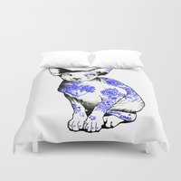kitty Duvet Covers featuring Kitty by Judski
