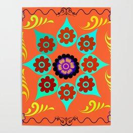 Talavera Tile Orange Poster
