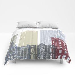 Fort Worth skyline poster Comforters