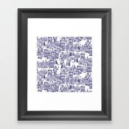 Doctor Who Toile de Jouy | 'Walking Doodle' | Blue Framed Art Print