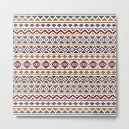 Aztec Essence Pattern II Red Blue Gold Cream Metal Print