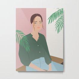 Summer Breeze, girly, fashion illustration, illustration, aloha, summer, tropical, hawaiian art Metal Print
