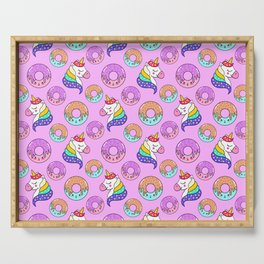 Cute happy funny colorful dreaming magical fantasy unicorns, sweet yummy Kawaii adorable donuts cartoon pastel baby pink pattern design. Serving Tray