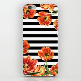 Red Orange Tulips Black Stripes Chic iPhone Skin