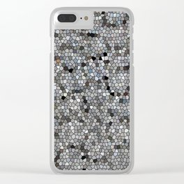 Grey Mosaic pattern Clear iPhone Case